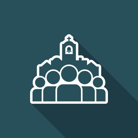 Church community - Vector flat minimal icon