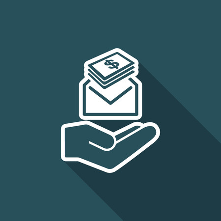 payola: Give envelope with dollars banknotes - Minimal icon Illustration