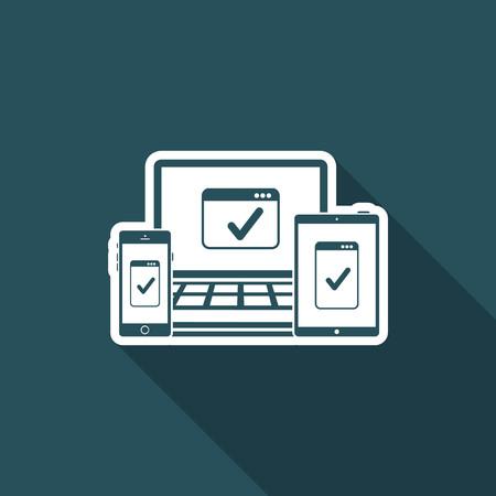 web site: Responsive window design checking Illustration