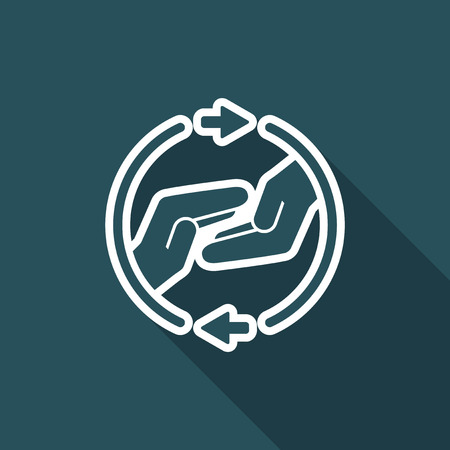 mutual assistance: Mutual assistance - Vector minimal icon Illustration