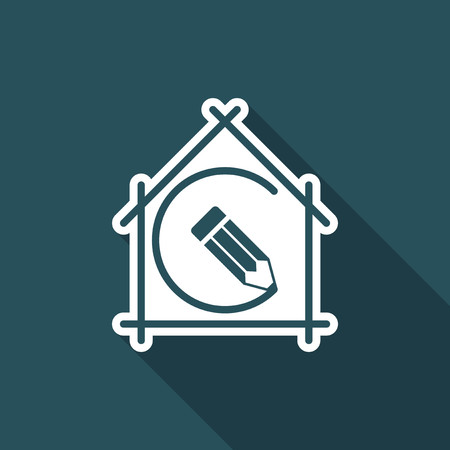 House planning - project design - Vector flat icon Illustration