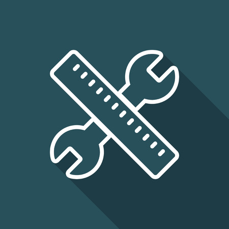Wrench and pen - Design project - Vector web flat icon Illustration