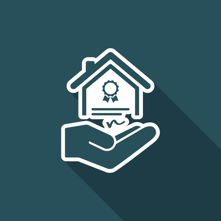 acquirement: House certification services - Vector icon Illustration