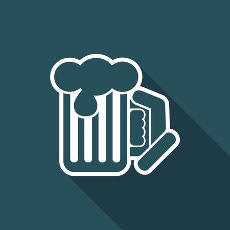 Beer mug - Vector flat icon Illustration
