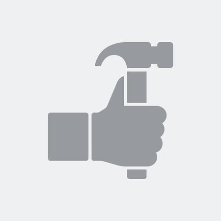 Hand holding a hammer like symbol of handcrafted work or strength Ilustração