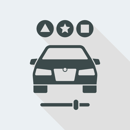 car Flat and isolated vector illustration icon with minimal modern design and long shadow Illusztráció