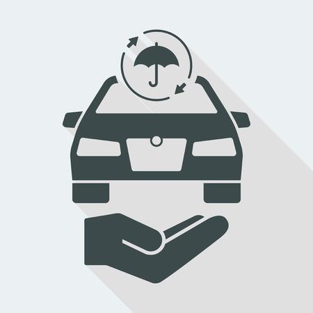 car Flat and isolated vector illustration icon with minimal modern design and long shadow Illusztráció