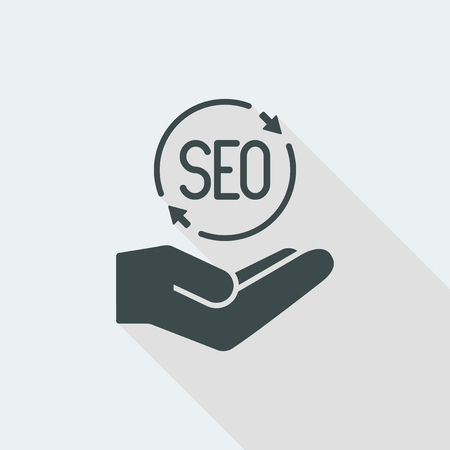 SEO Flat and isolated vector illustration icon with minimal modern design and long shadow