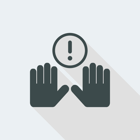 attention Flat and isolated vector illustration icon with minimal modern design and long shadow