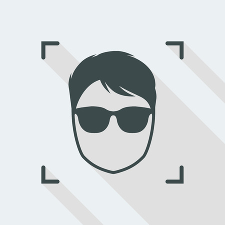 man Flat and isolated vector illustration icon with minimal modern design and long shadow