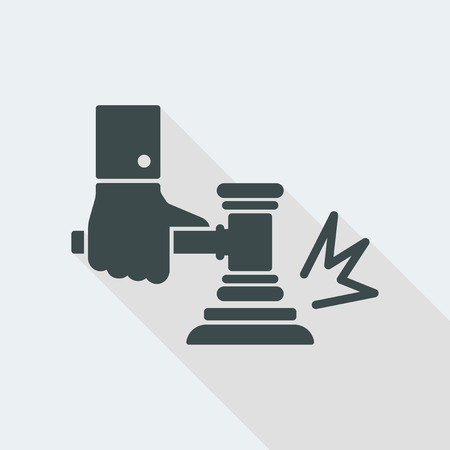 judge Flat and isolated vector illustration icon with minimal modern design and long shadow Иллюстрация