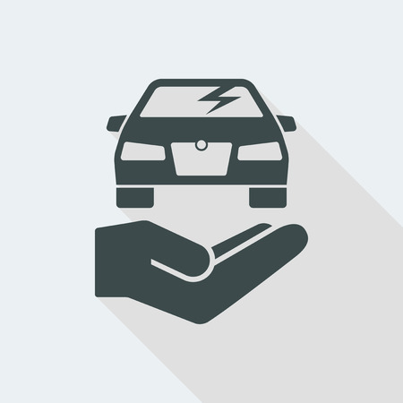 car Flat and isolated vector illustration icon with minimal modern design and long shadow Vector Illustration