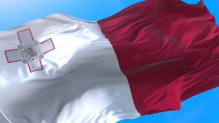 Malta flag waving in wind Realistic Maltese background. Malta background