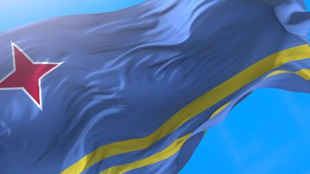 Aruba flag waving in wind Realistic Aruban background. Aruba background