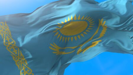 Kazakhstan flag waving in wind Kazakhstan flag background Stock fotó