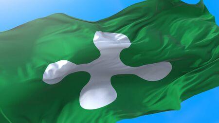 Lombardy, region of Italy, waving flag Realistic Lombard background. Lombardy background