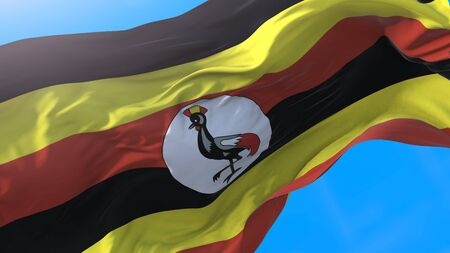Uganda flag waving in wind Realistic ugandan background. Uganda background