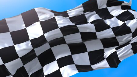 Chess flag waving in wind on sky. Sport car background. Race start or finish. Racing flag.