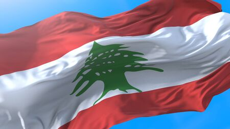 Lebanon flag waving in wind Realistic Lebanese background. Lebanon background