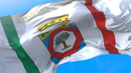 Apulia, region of Italy, waving flag Realistic Apulian background. Apulia background Stock fotó