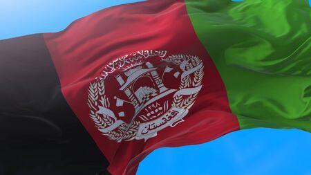 Afghanistan flag waving Realistic Afghan background. Afghanistan background Stock fotó