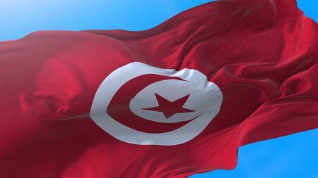 Tunisia flag waving in wind Tunisian background. Tunisia background