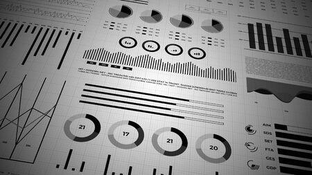 Statistiken, Finanzmarktdaten, Analysen und Berichte, Zahlen und Grafiken. 3D-Infografiken.