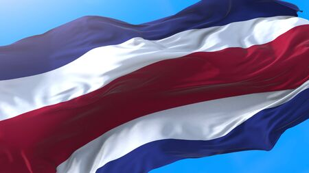 Costa Rica flag waving in wind Realistic Costa Rican background. Costa Rica background