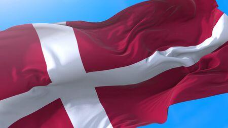 Denmark flag waving in wind Realistic Danish background. Scandinavia background Stock fotó