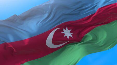 Azerbaijan flag waving in wind Realistic Azerbaijani background. Azerbaijan background Stock fotó