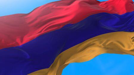 Armenia flag waving in wind Realistic Armenian background. Armenia background