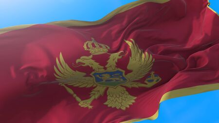 Montenegro flag waving in wind Realistic Montenegrin background. Montenegro background