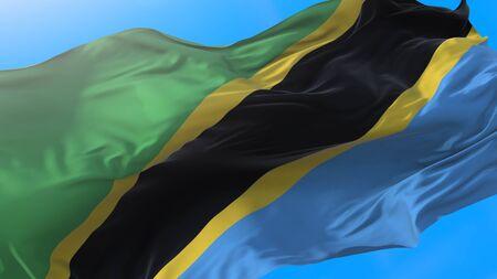 Tanzania flag waving in wind Tanzanian background. Tanzania background