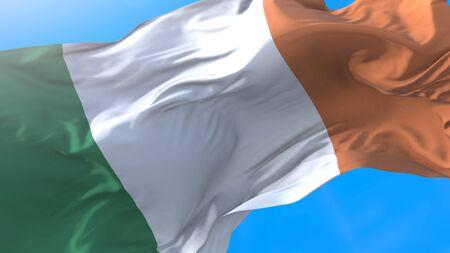 Ireland flag waving in wind Realistic irish background. Ireland background