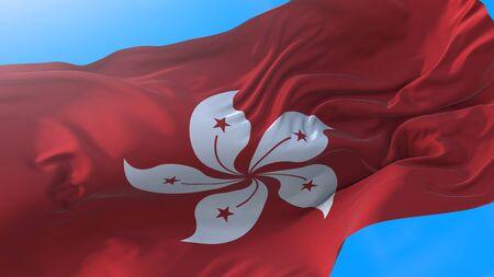 Hong Kong flag waving in wind Realistic China background. Hong Kong background