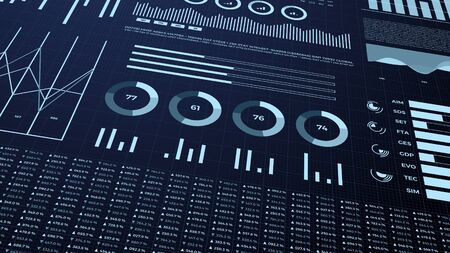 Statistics, financial market data, analysis and reports, numbers and graphs. 3d infographics.