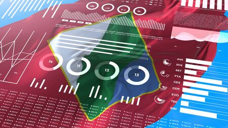Abruzzo - Italy informational analysis reports and financial data, infographics display with flag, columns numbers and pie graphics chart. Financial scientific and medical topics.