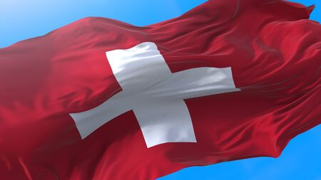 Switzerland flag waving in wind Realistic Swiss background. Switzerland background 3840x2160 px