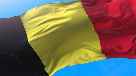 Belgium flag waving Realistic Belgian background. Belgium background