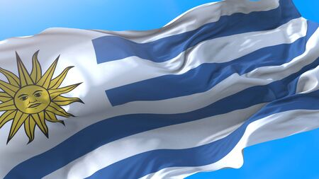 Uruguay flag waving in wind Realistic uruguayan background. Uruguay background