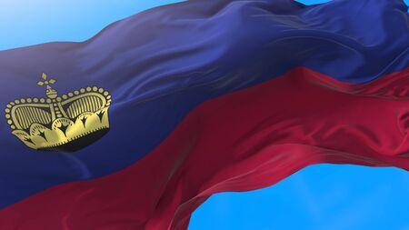 Liechtenstein flag waving in wind Realistic liechtensteiner background. Liechtenstein background Stock fotó