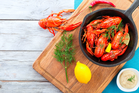 fluvial: crawfish on a frying pan, top view Stock Photo