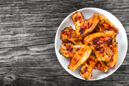 roasted chicken wings with spices,  top view, close-up Stok Fotoğraf