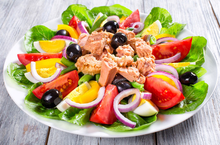 traditionally french: salad with tuna, classic recipe, french cuisine, close-up