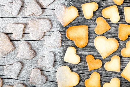 sweet sugar snap: biscuits in the form of hearts, top view