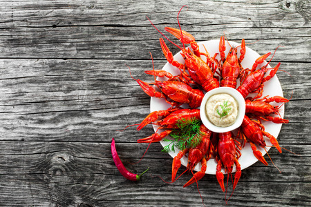 crustacea: Boiled crayfishes with sauce of grated horseradish , top view