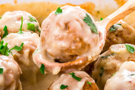 Swedish homemade meatballs smothered in a creamy gravy sauce, macro