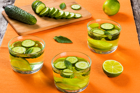 fat burning: Very Fat Burning Detox Drink - Sassy Water: sliced cucumber, lime  and mint in the glasses