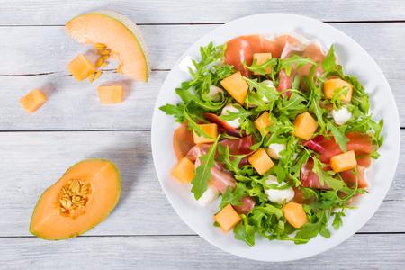 Arugula, prosciutto, mozzarella salad and melon on a white dish on a wooden table, top view 写真素材