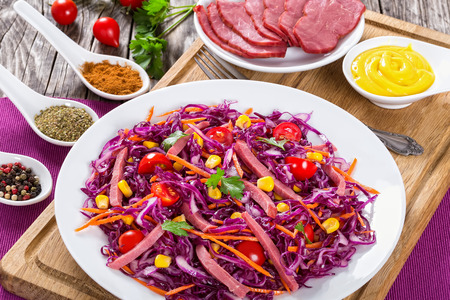 sliced smoked meat and red cabbage salad with carrots, meat, cherry tomatoes and parsley on white plate on cutting board with mustard in gravy boat and spices on porcelain spoons, close-up